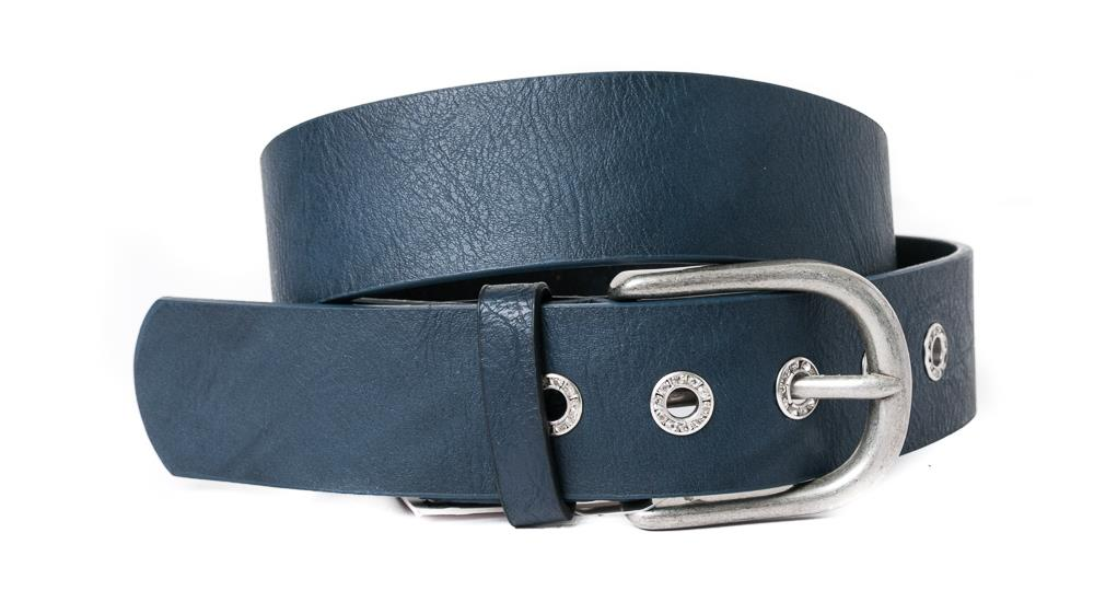 Belt, PU/Leather plain w crystal sirkels navy