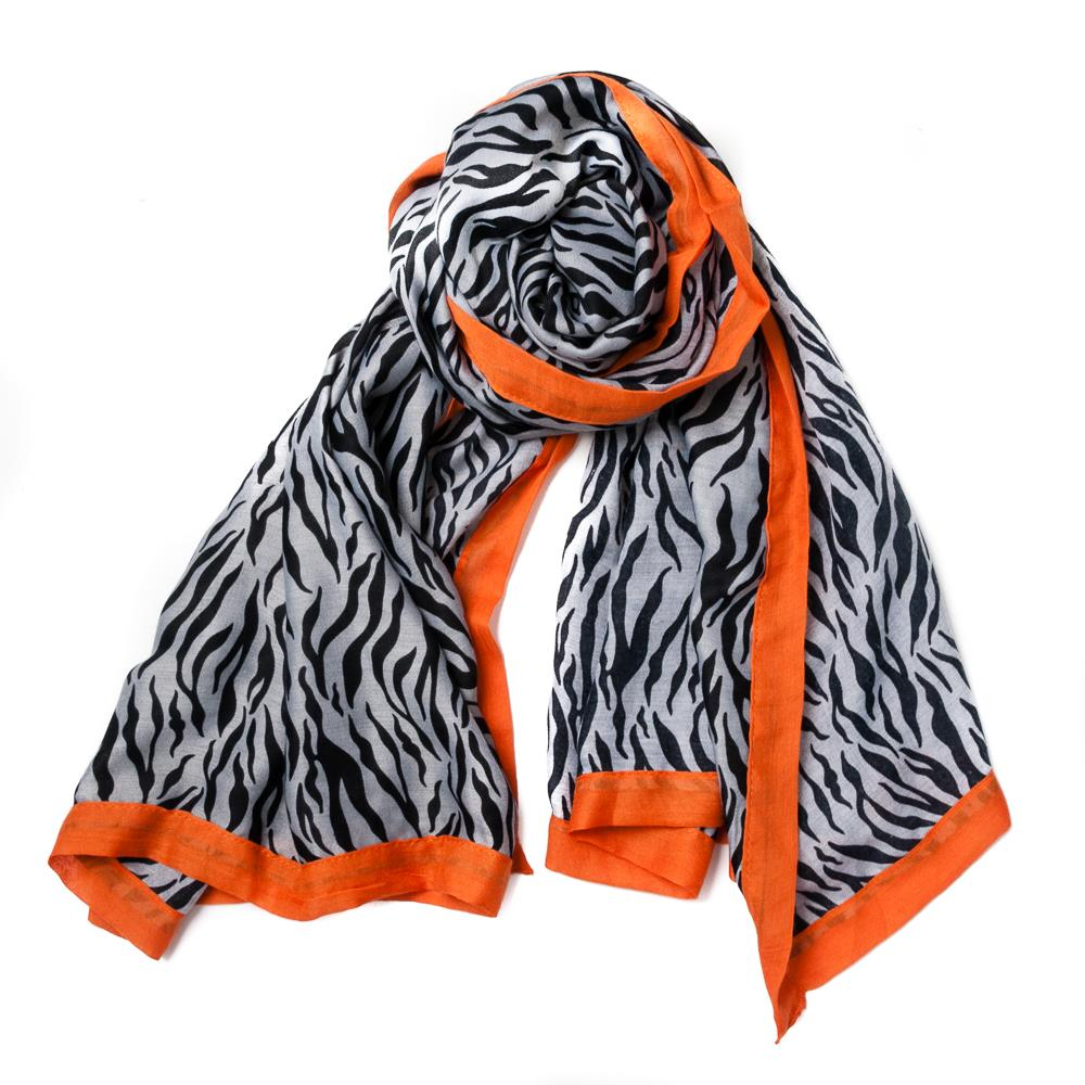 Scarf, zebra pattern with colorfull edges brick