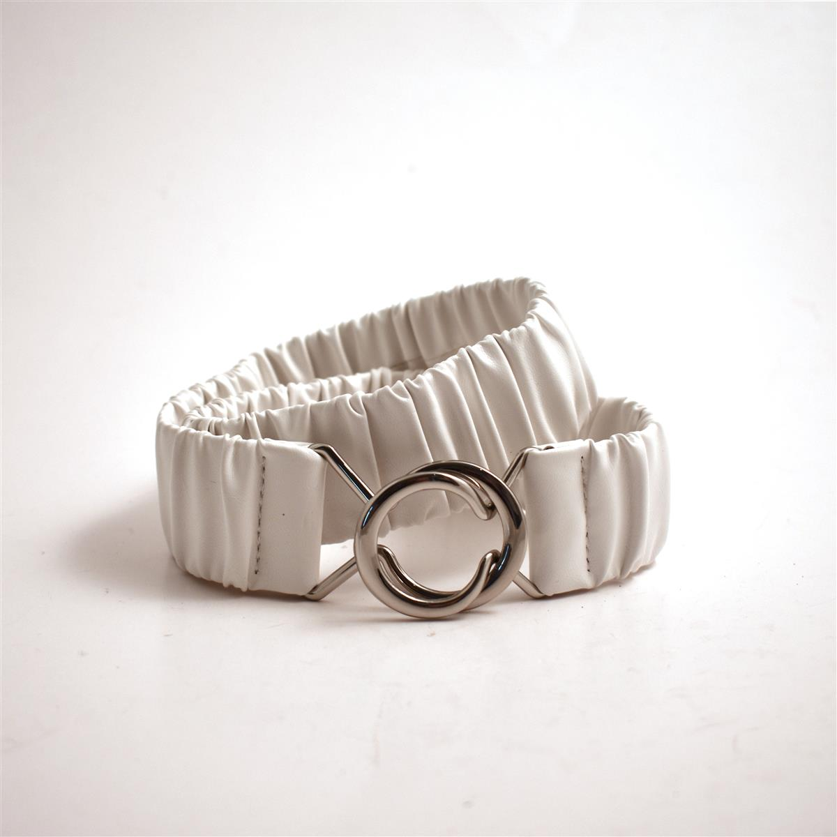 Belt,Elastic belt plain, white