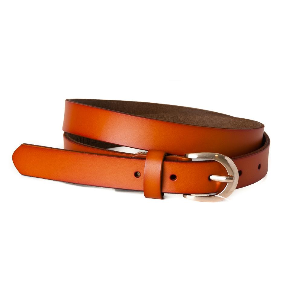 Belt, leather oval buckle orange