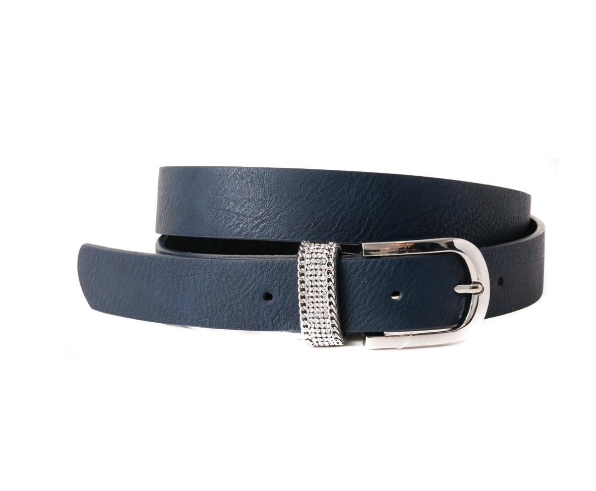 Belt, double loops gold, navy