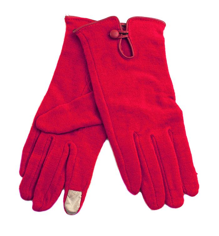 Gloves, Wool glove w touch finger and button