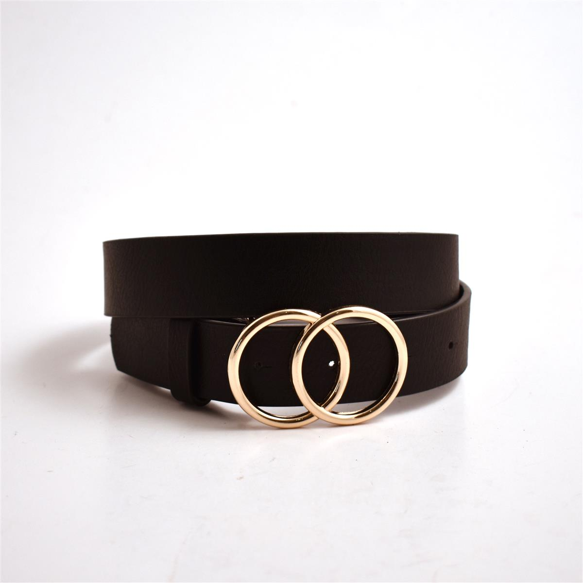Belt, Double sirkle buckle, black