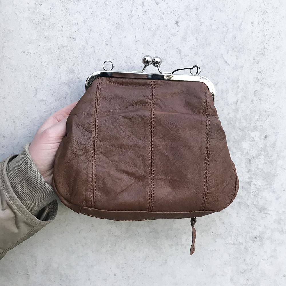 Bag, Leather bag with long strap and zipper in bottom