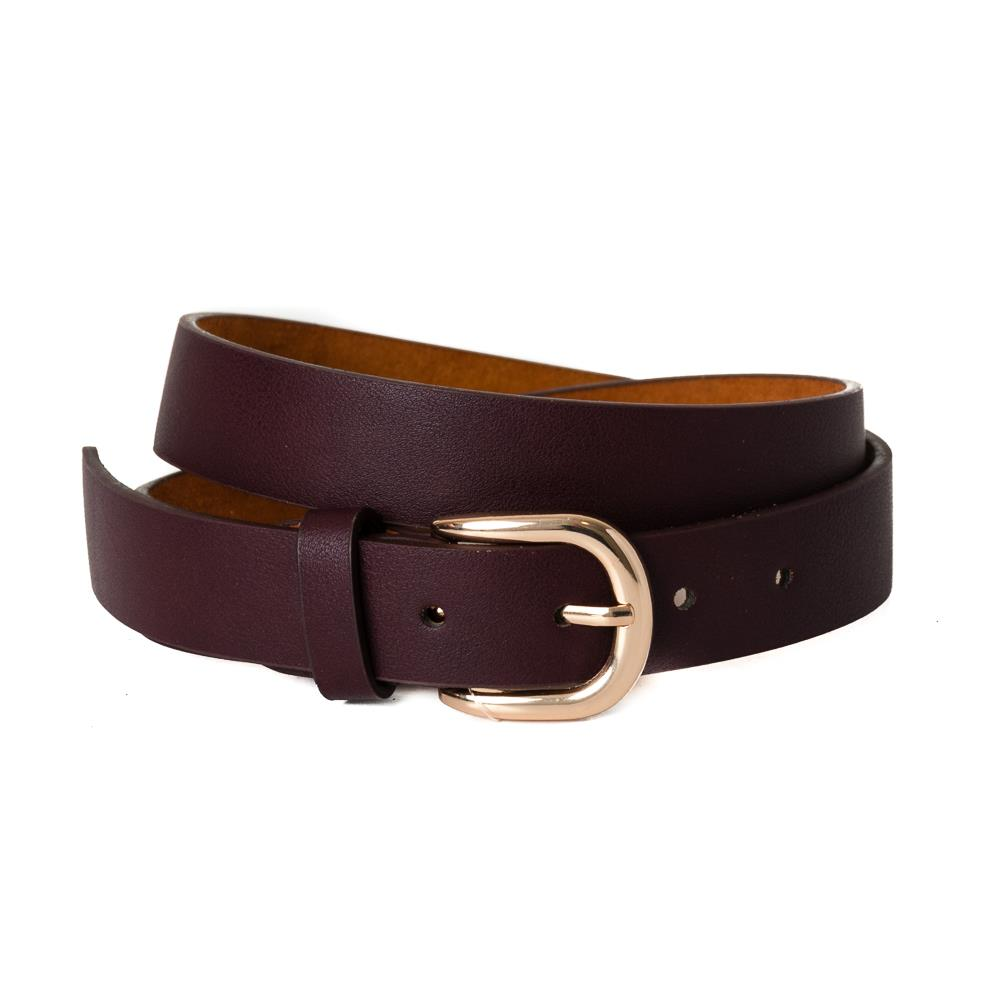 Belt, pu/leather plain gold buckle dk brown