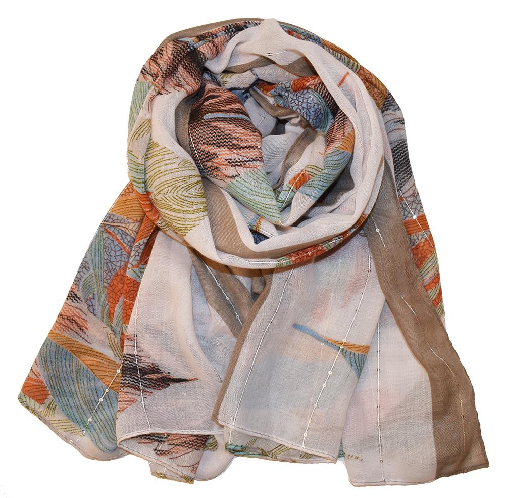 Scarf, Leafprint with sequince