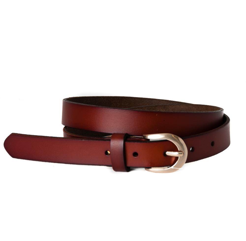 Belt, leather oval buckle cognac