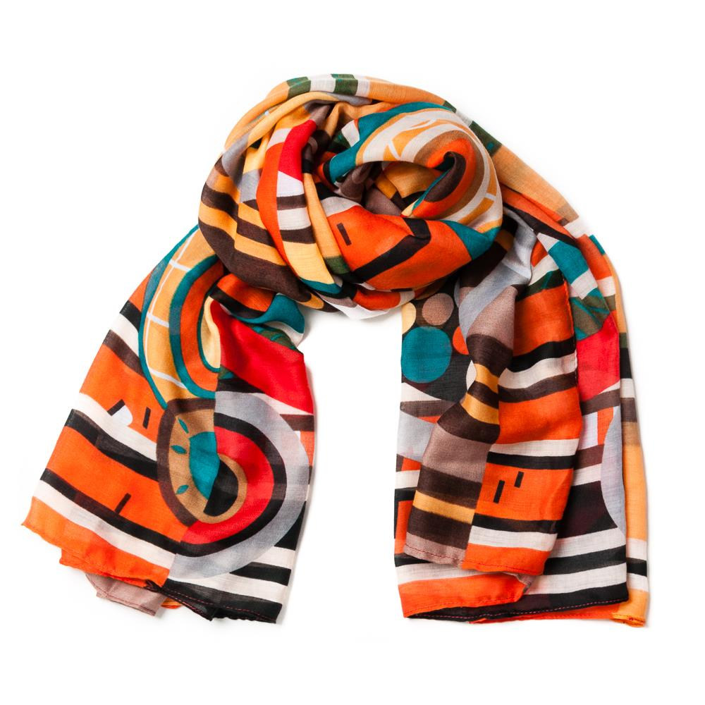 Scarf, retro print orange
