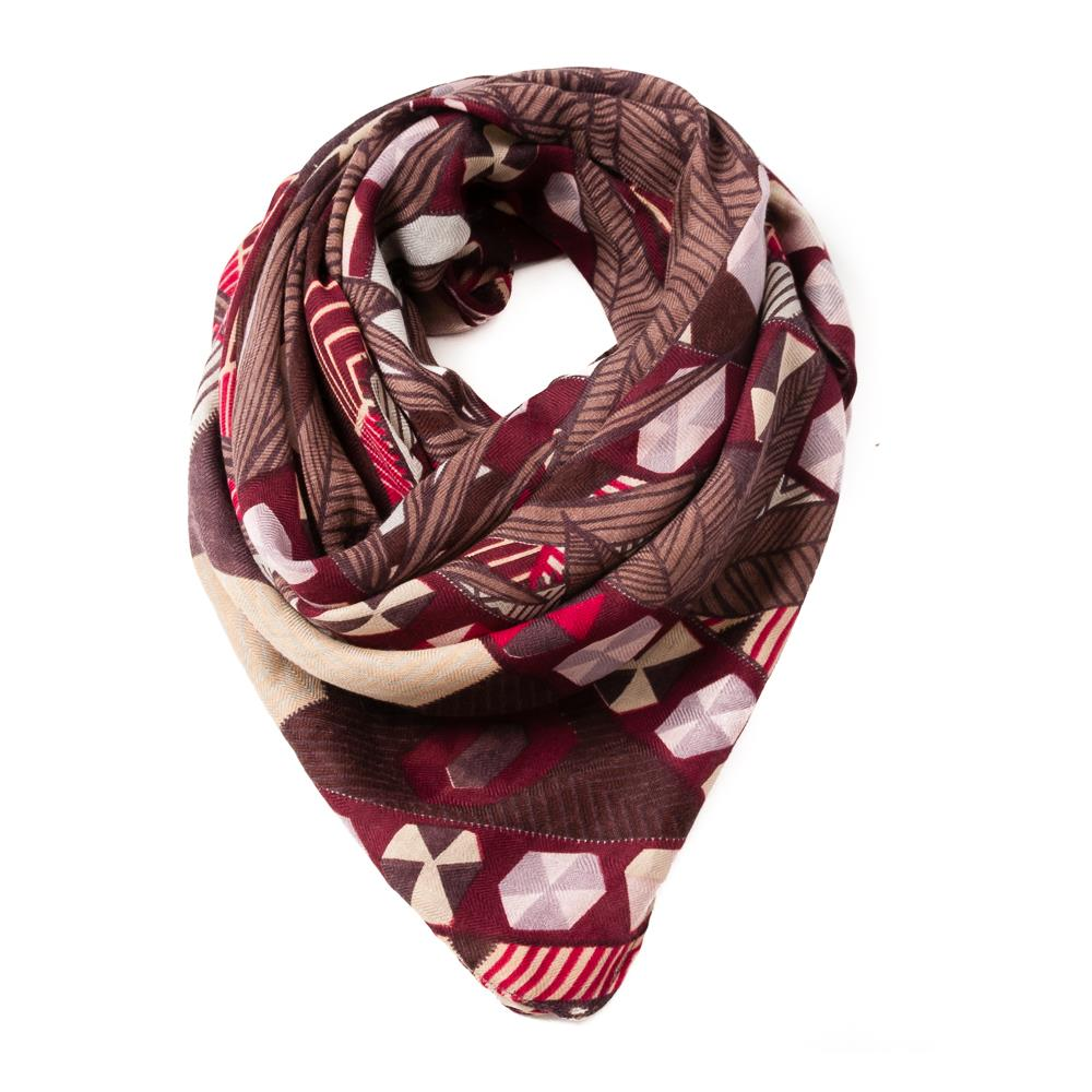 Scarf, big square grafical pattern black/bordeaux