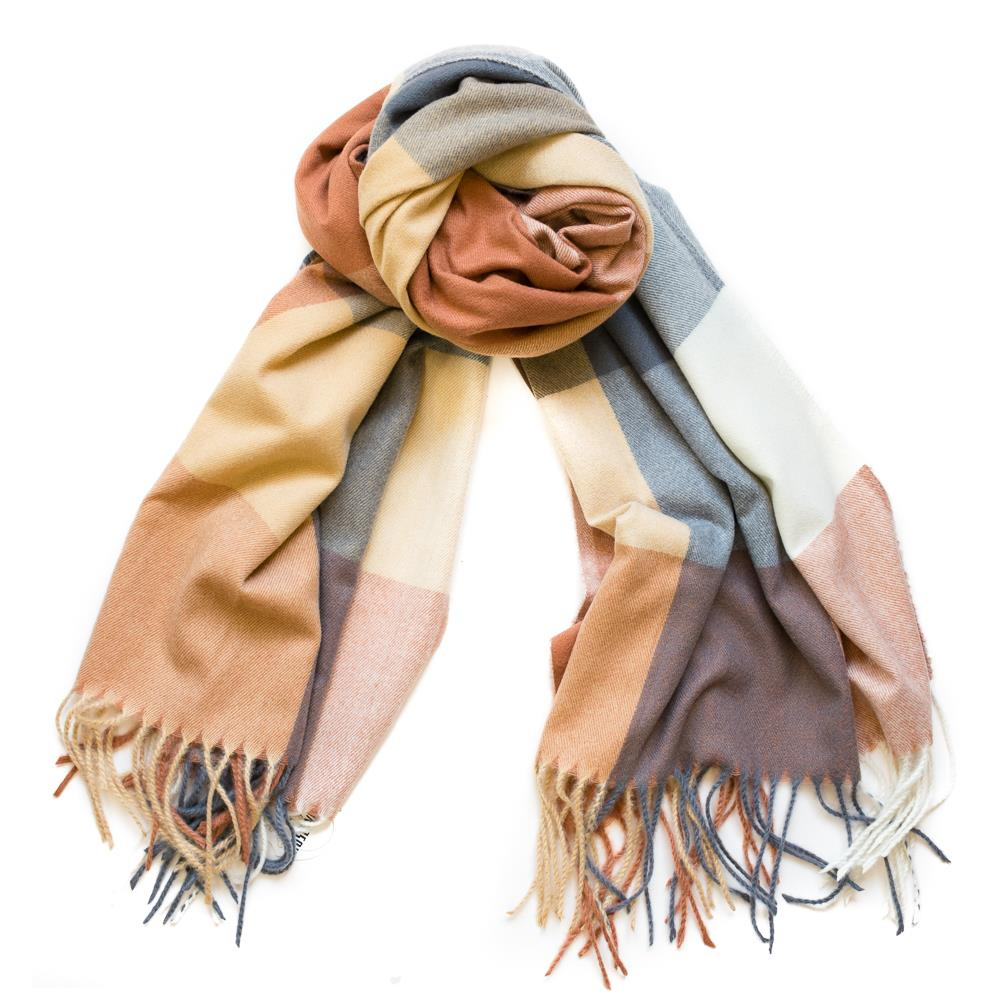 Scarf, Thin fluffy check pattern beige