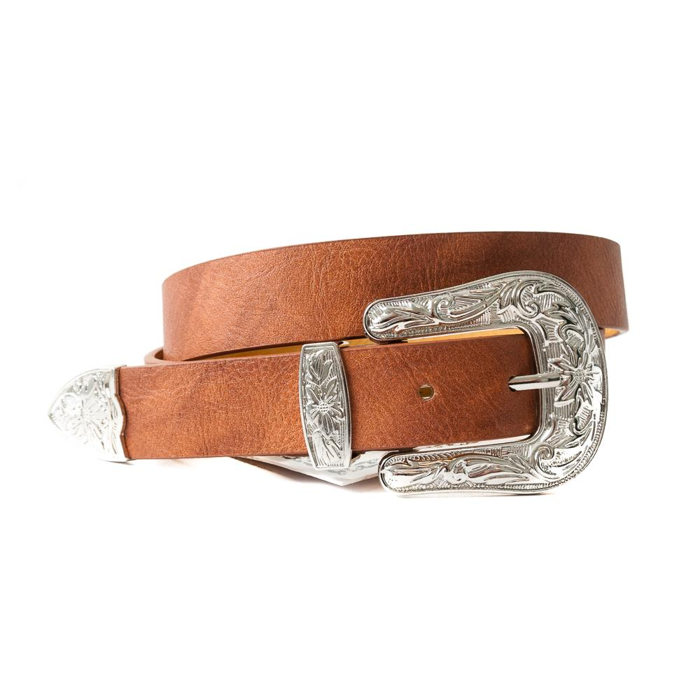 Belt, small with big bucle cognac