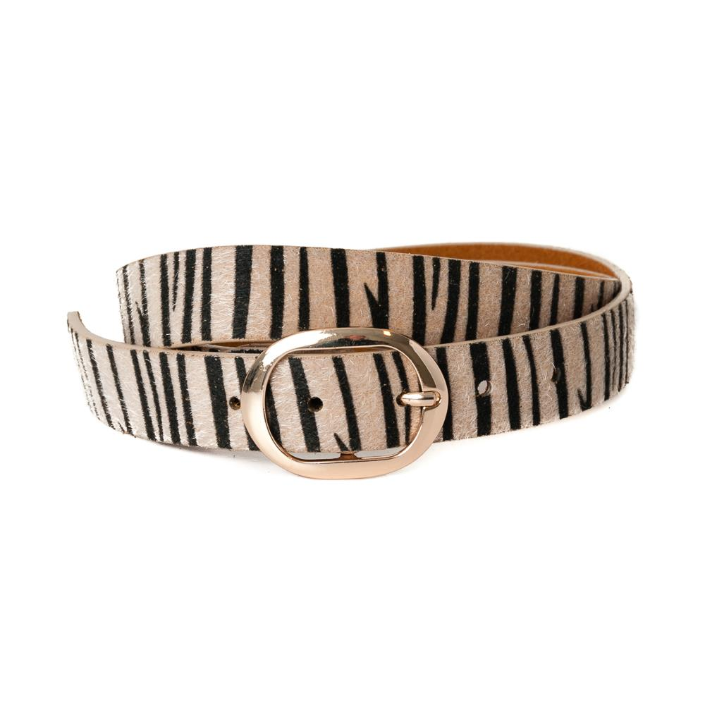 Belt, pu/leather zebra hair pattern beige
