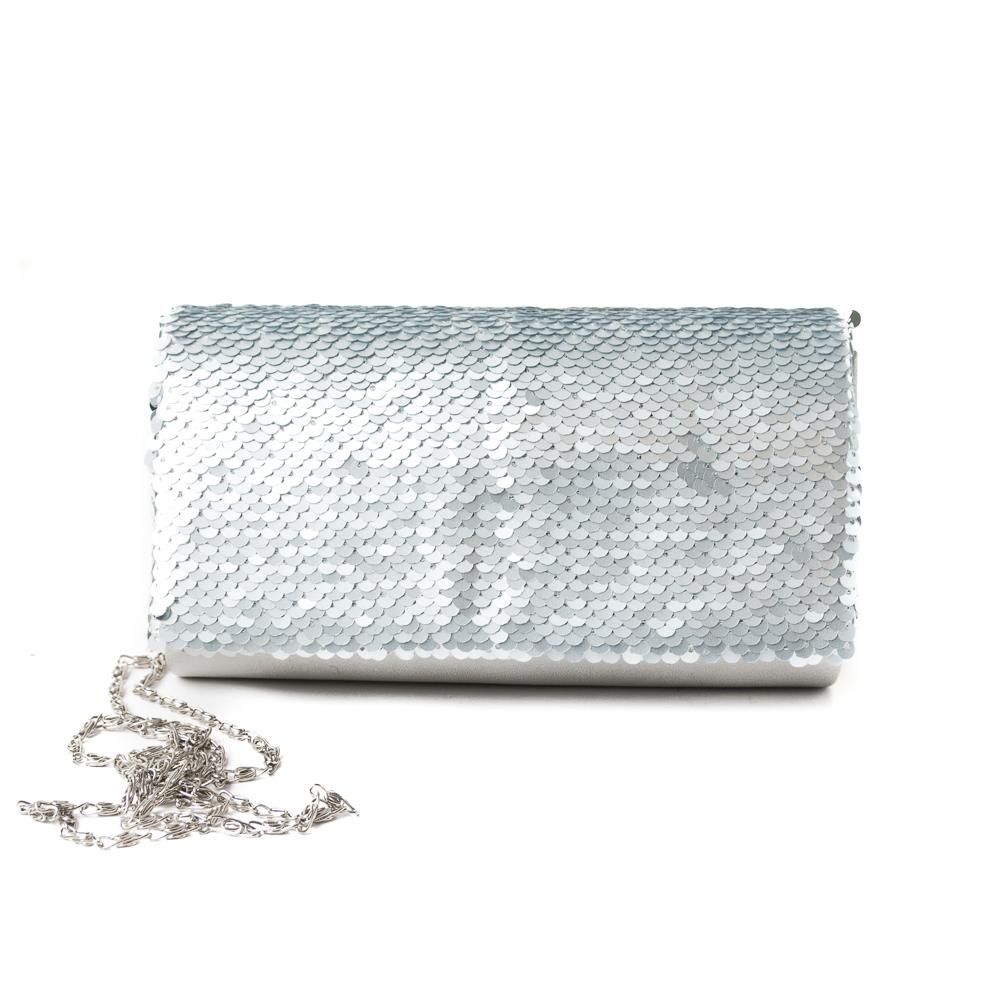 Bag, Partybag big sequinces lt grey