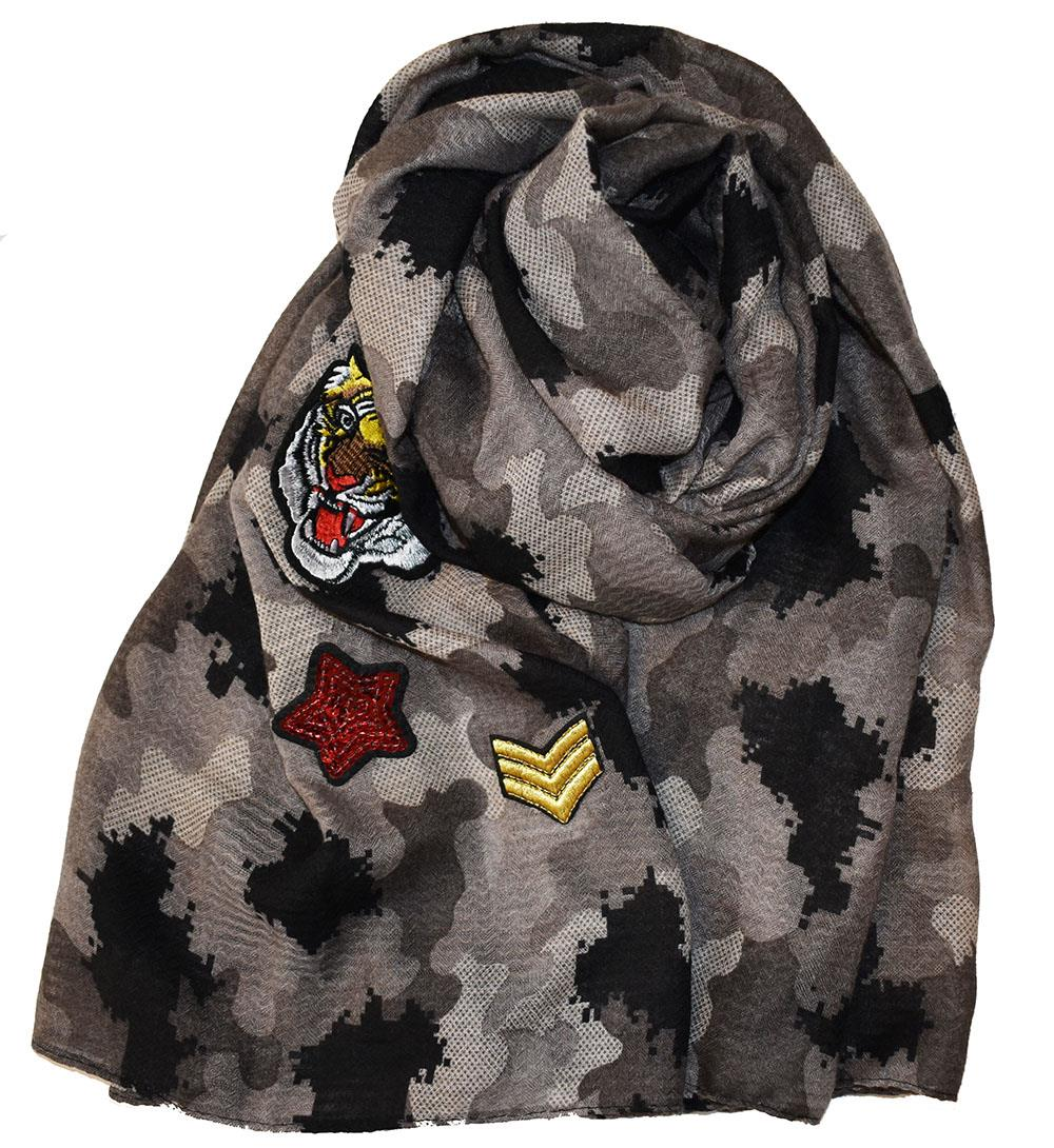 Scarf, camo with patches