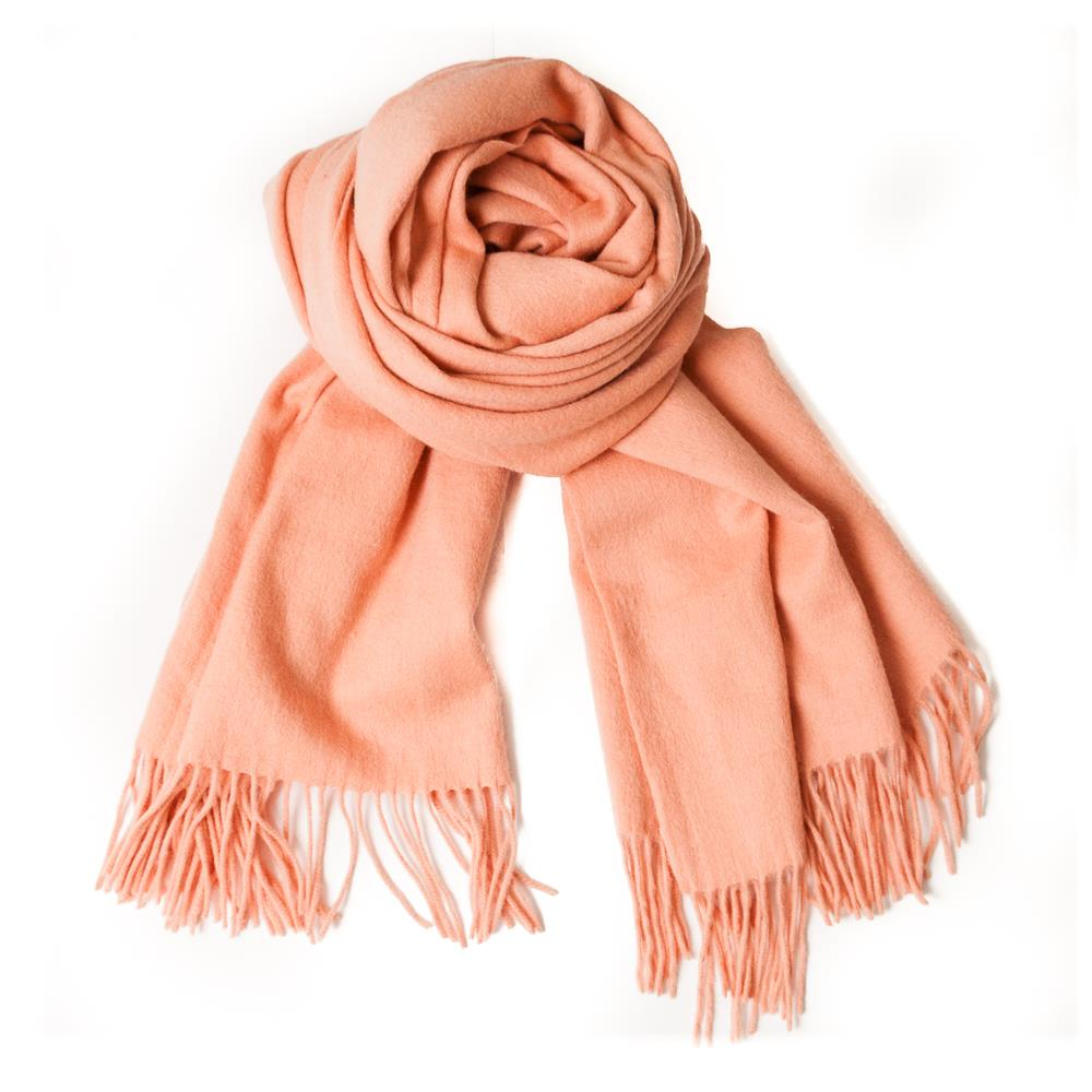 Scarf boiled wool scarf w fringes, Lt Coral