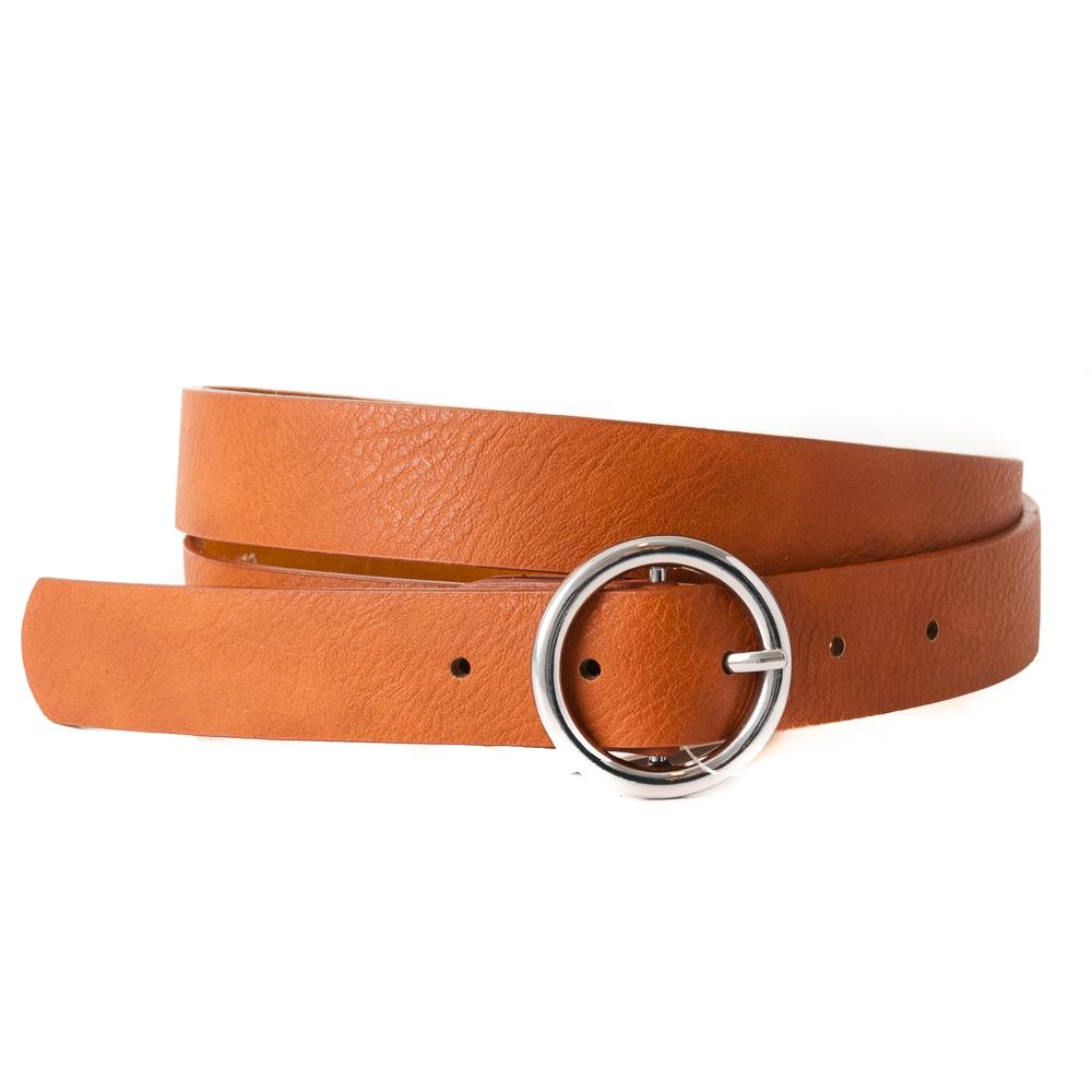 Belt, with sirkle buckle plain, Silver Buckle cognac