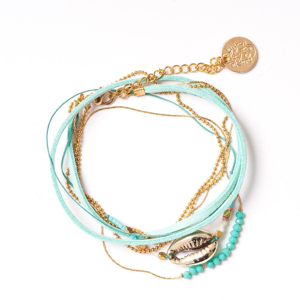 Bracelet, Double cross bracelet with shell Turquoise