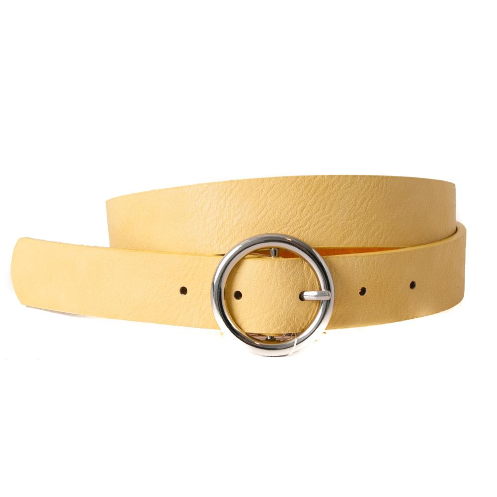 Belt, with sirkle buckle plain, silver buckle lt yellow