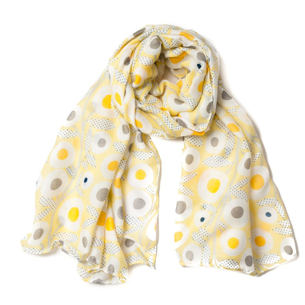 Scarf, retro flowerprint yellow