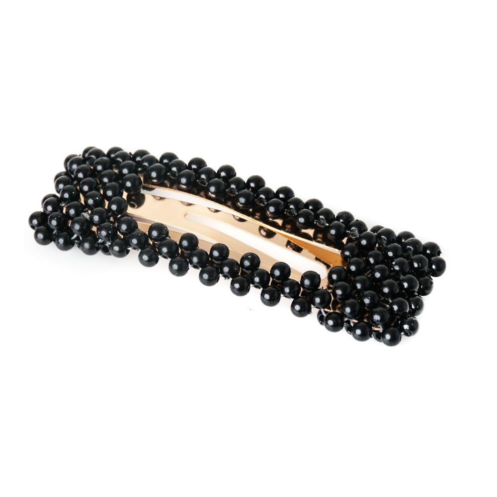 Hairclips, rektangular gold clip black pearls