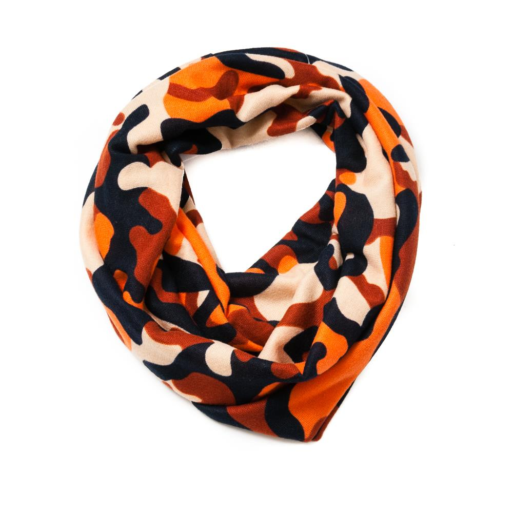 Scarf, knitted camo tube brick
