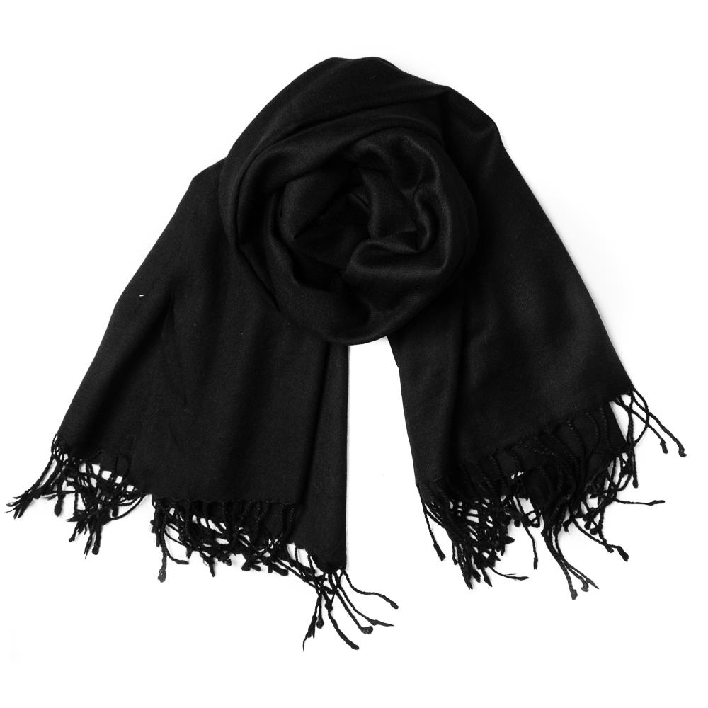 Scarf, wool with fringes black