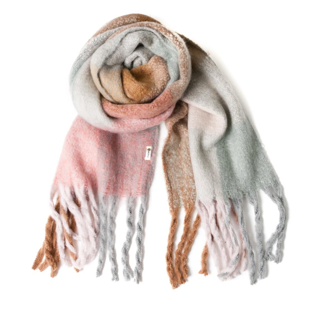 Scarf,Check printed fluffy scarf Pale