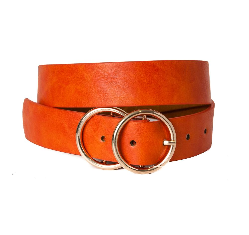 Belt, pu/leather double sirkel ring buckle dk orange