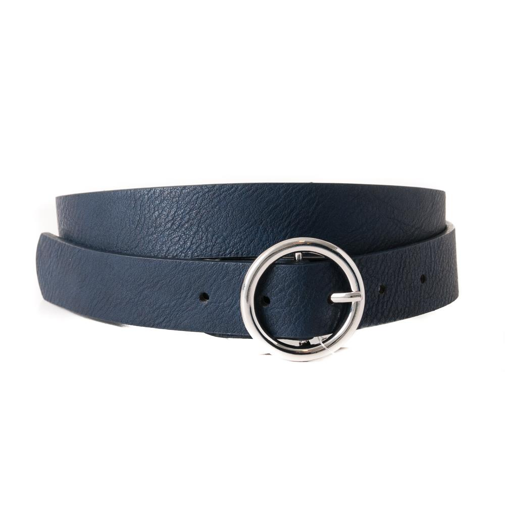 Belt, with sirkle buckle plain, Silver Buckle navy