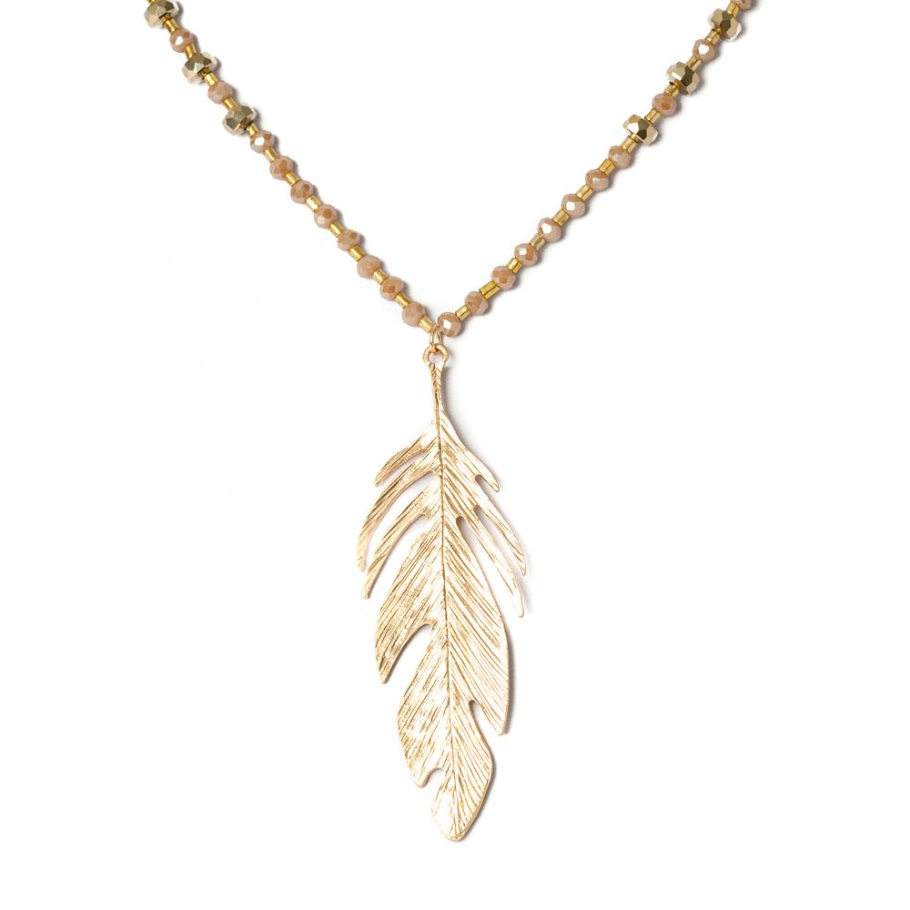Necklace, crystal with feather pedant gold