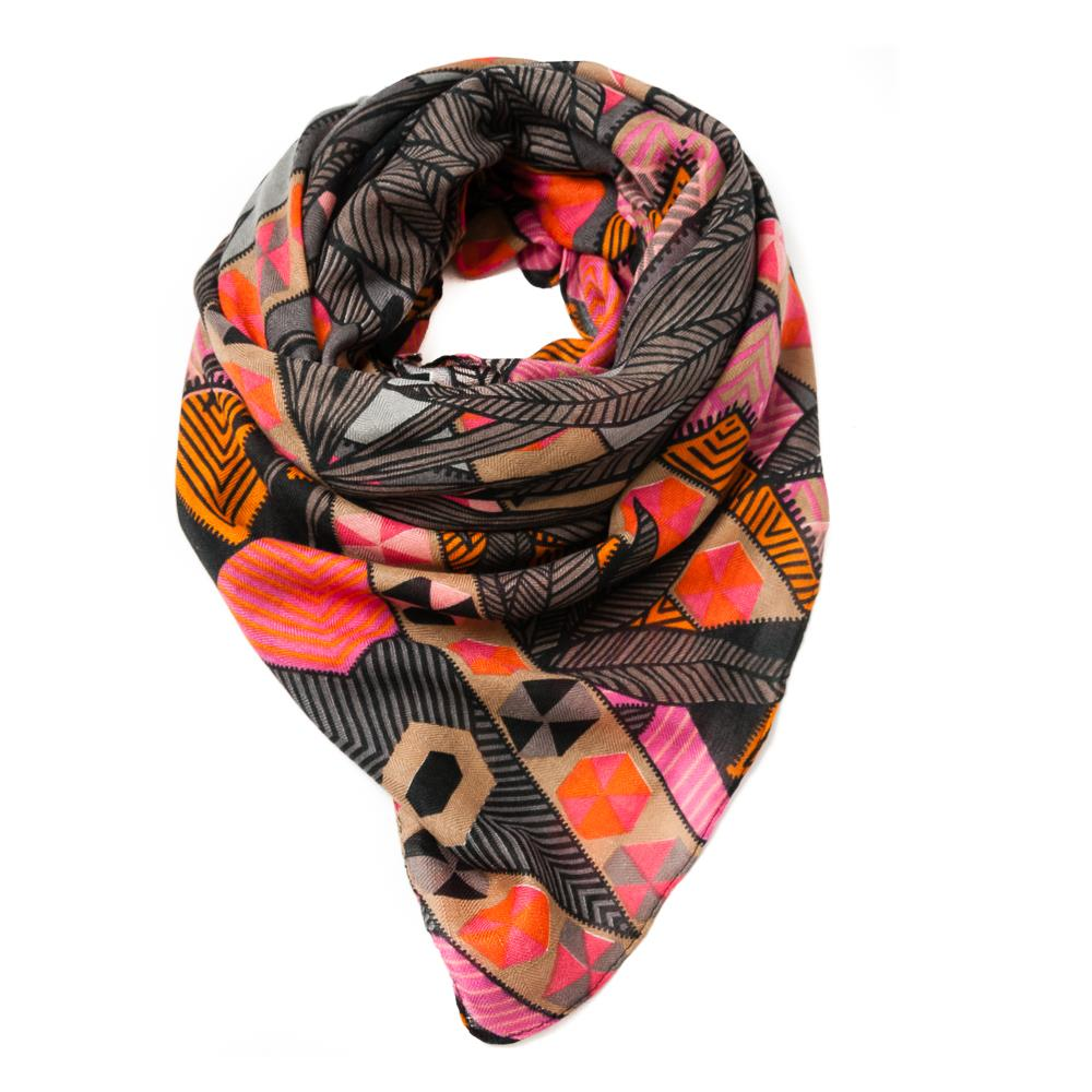 Scarf, big square grafical pattern multicolor
