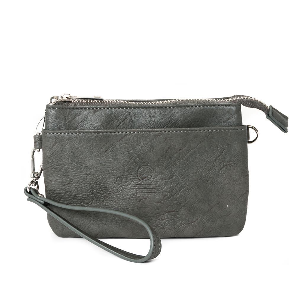 Bag, zipper pocket purse grey