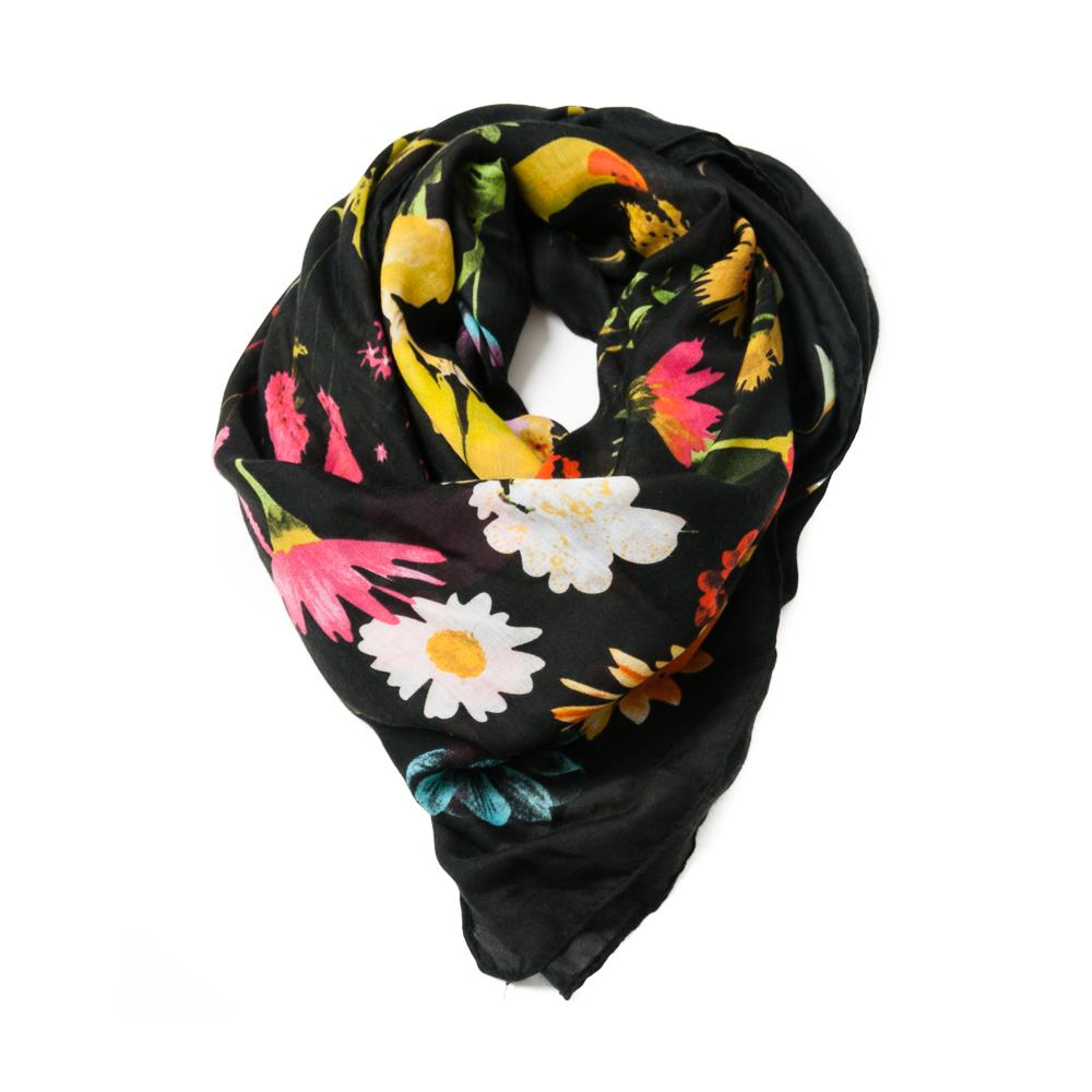 Scarf, square with autum flowers black
