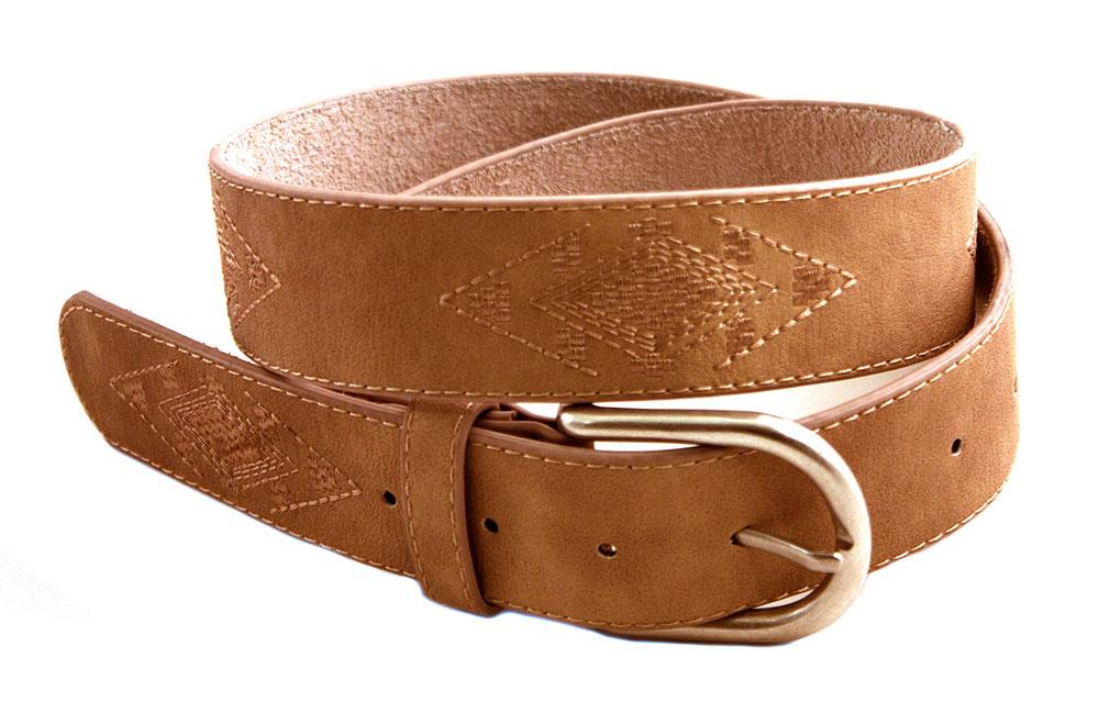 Belt, PU/leather w embroidery