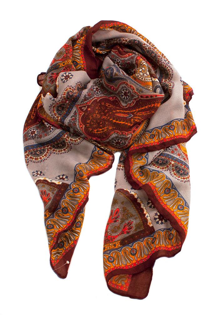 Scarf, paisley print w crazy colors