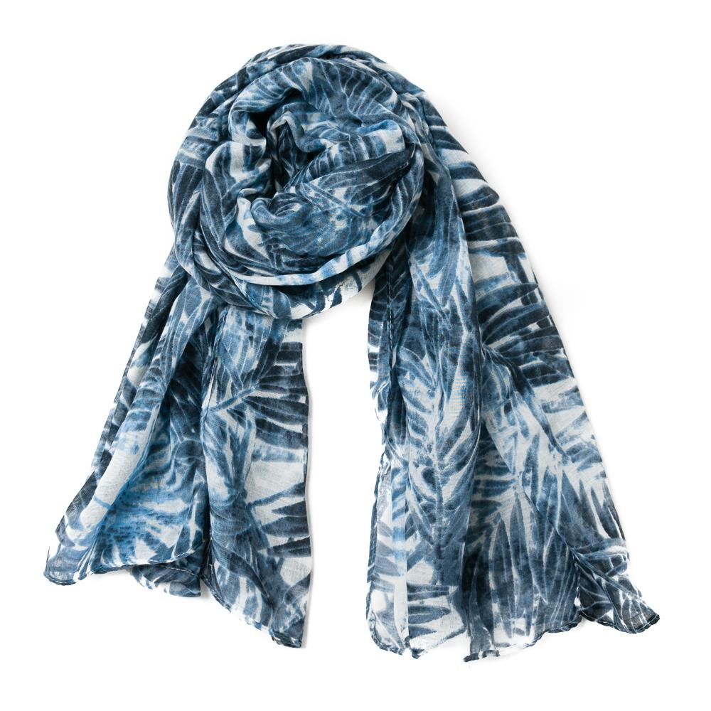 Scarf, Blue palm leaf pattern
