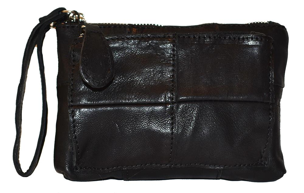 Bag, leather clutch small black
