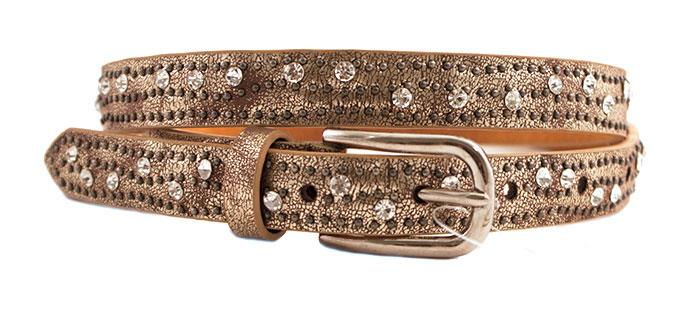 Belt, PU/leather small, metallic w small rivets