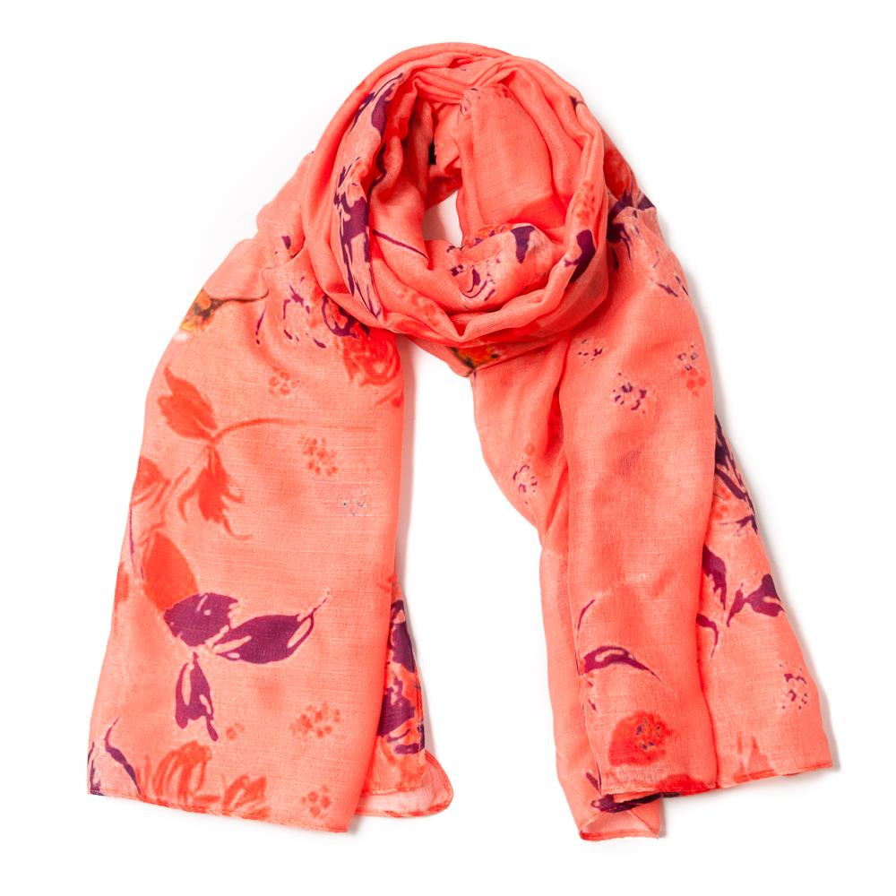 Scarf, orange bird print yellow