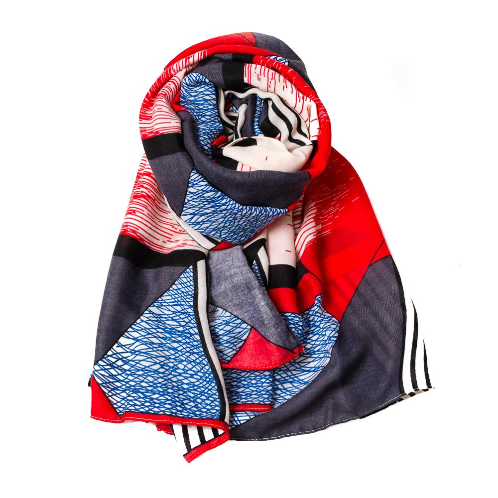 Scarf, grafical pattern navy/red