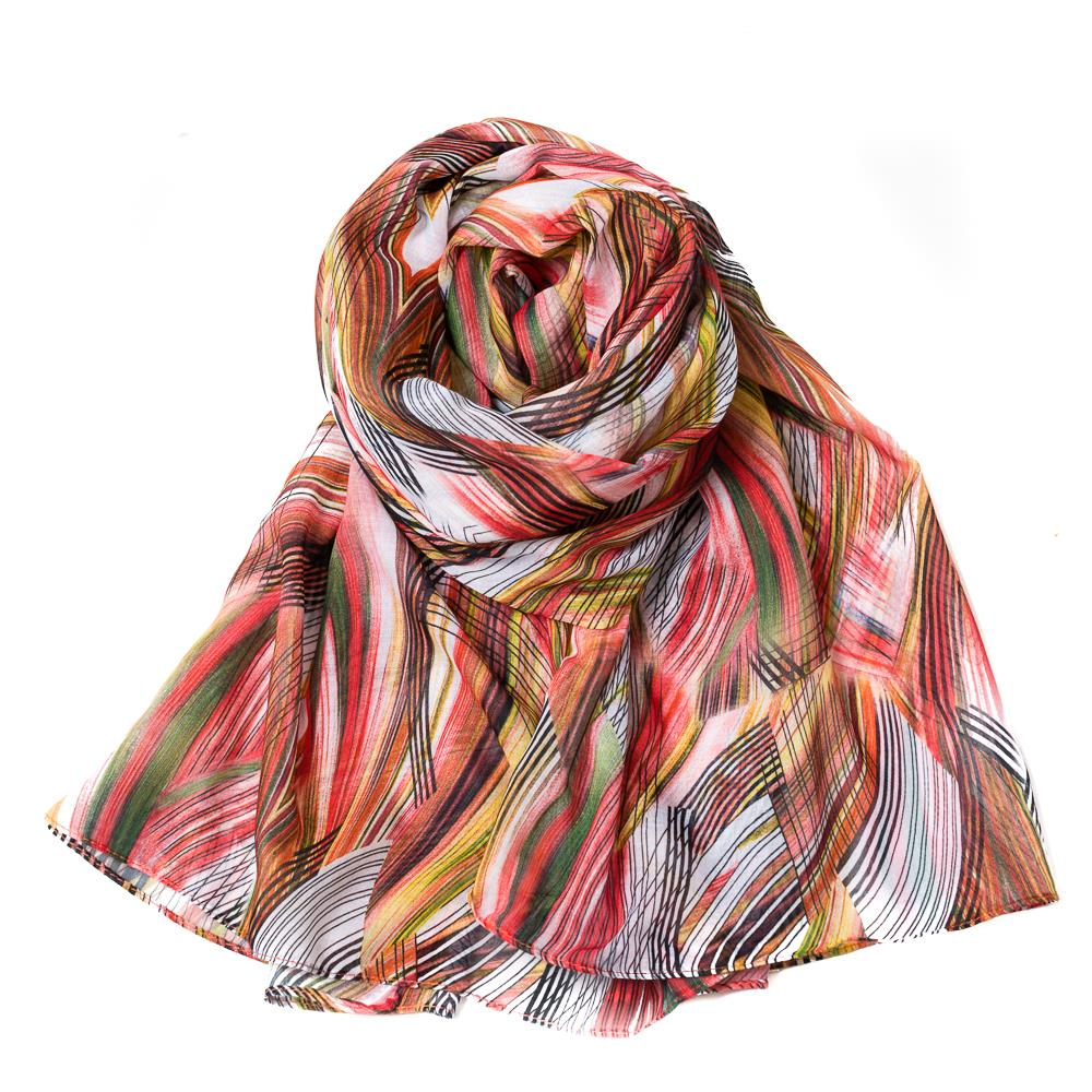 Scarf, Multicolor stripes red