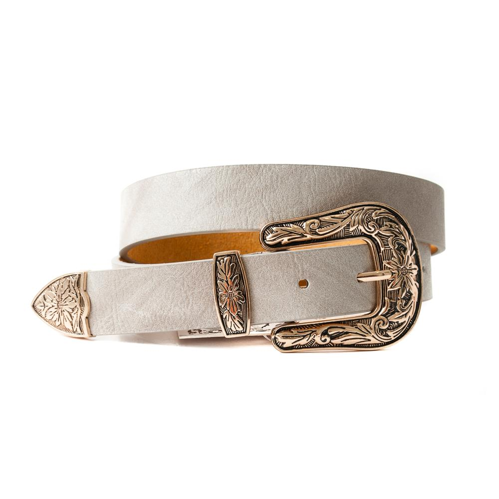 Belt, small with big bucle beige