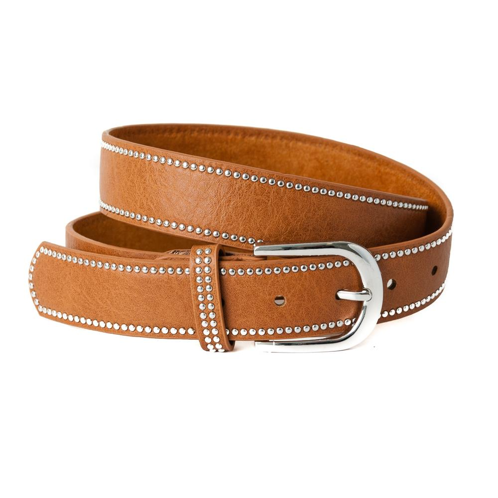 Belt, pu/leather plain with rivets black plain cognac
