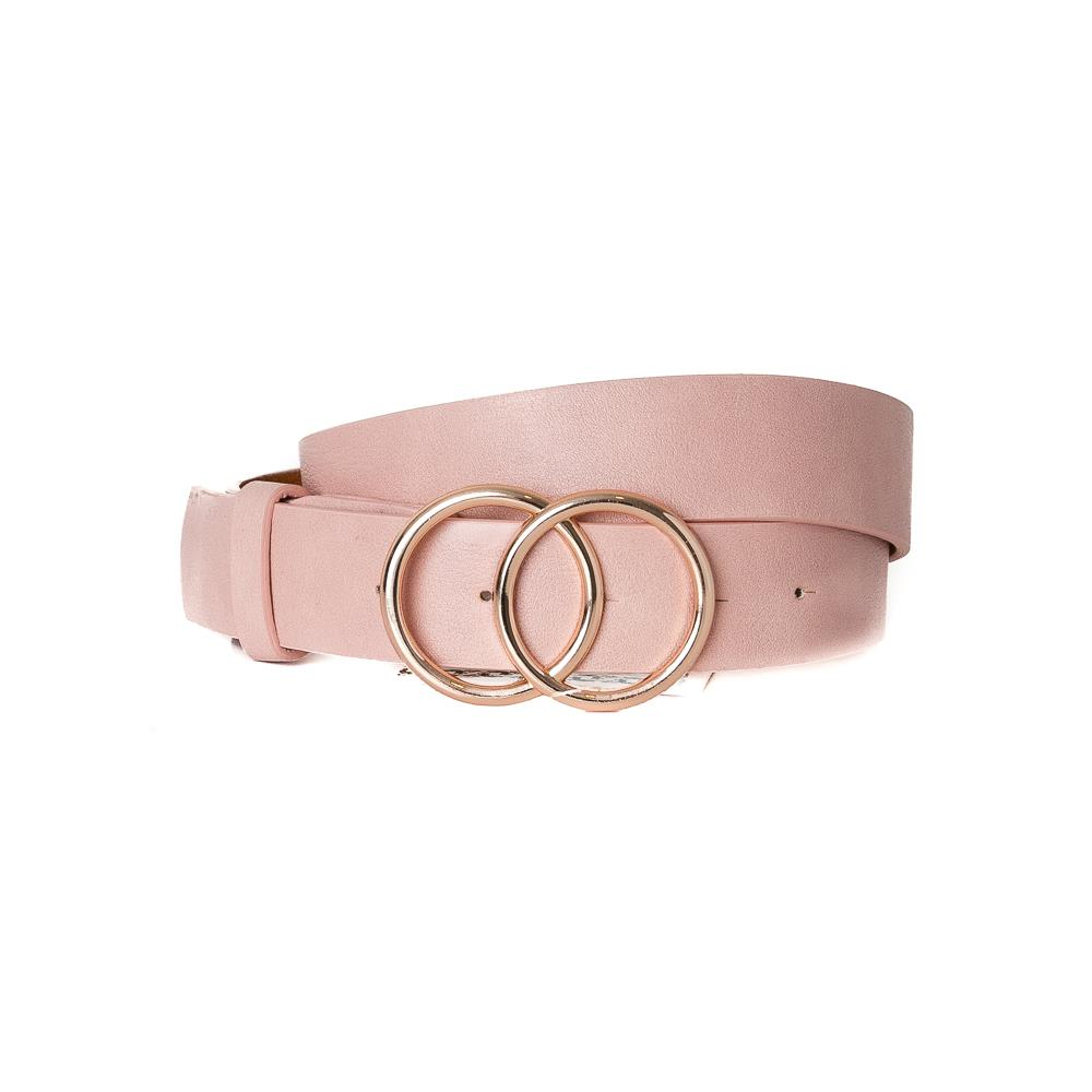 Belt, Doubble Ring Buckle Dusty Pink Gold Buckle