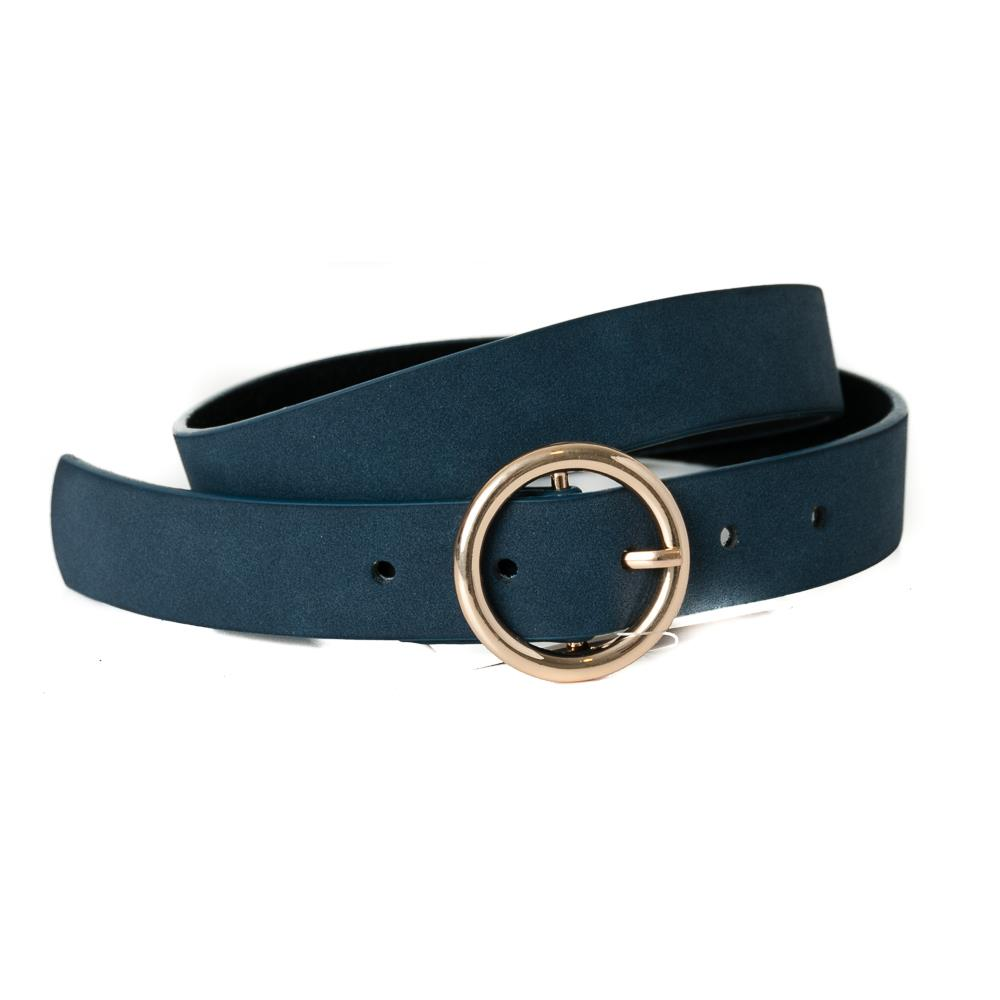 Belt, pu/leather sirkle buckle navy