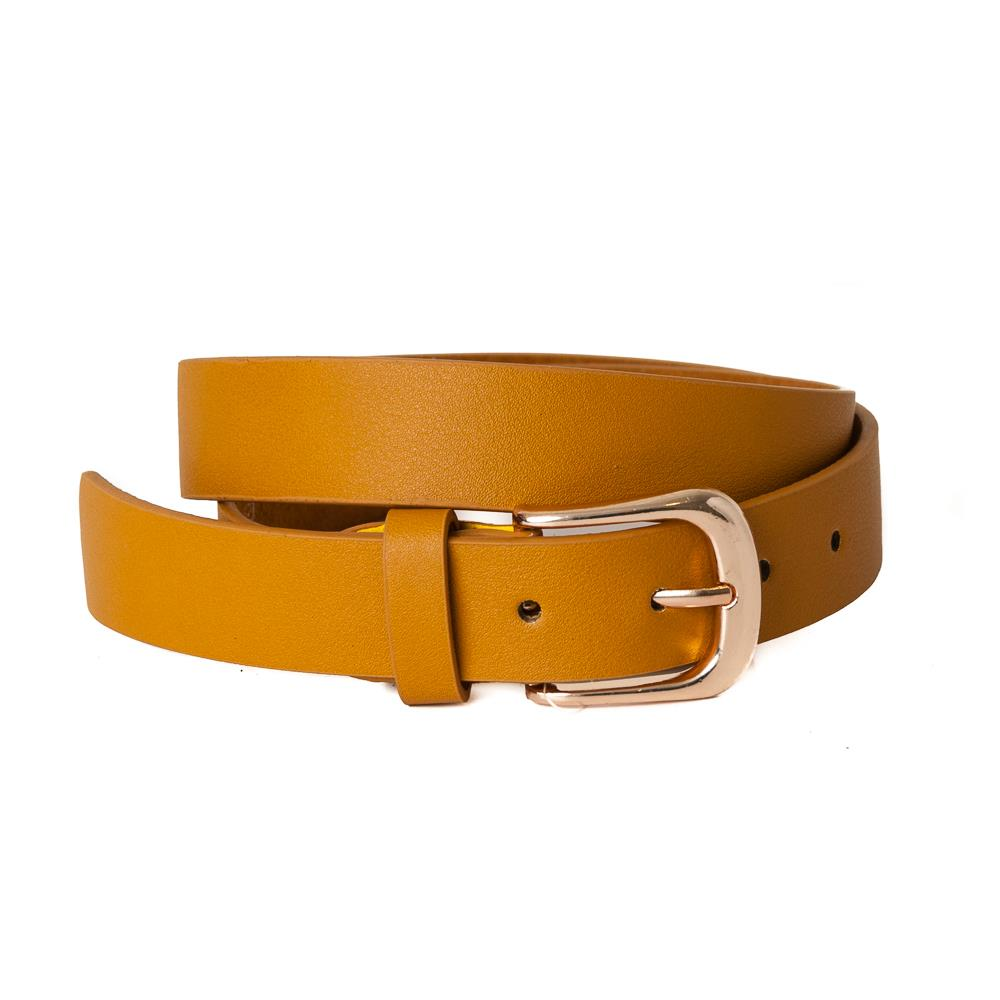 Belt, pu/leather plain gold buckle dk yellow