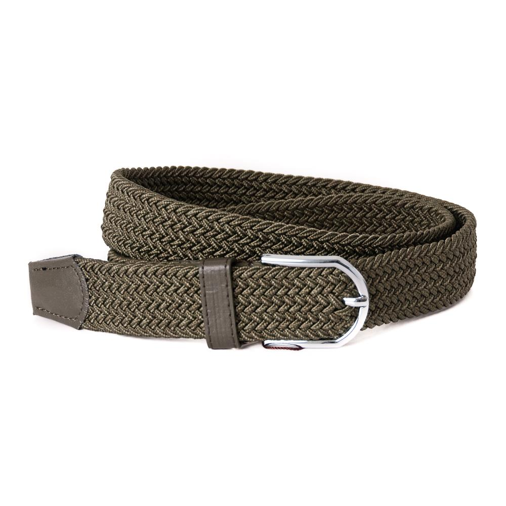 Belt, elastic braided army green