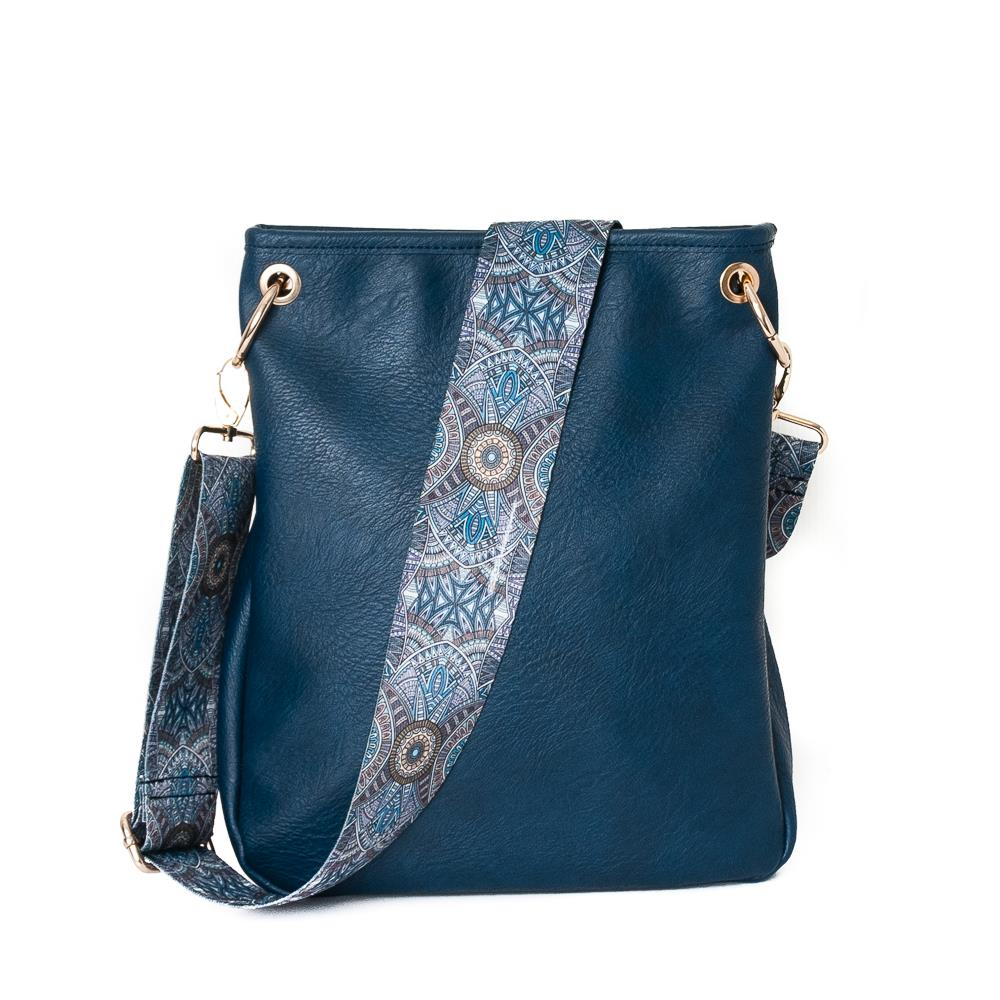 Bag, small cross with ribbon navy
