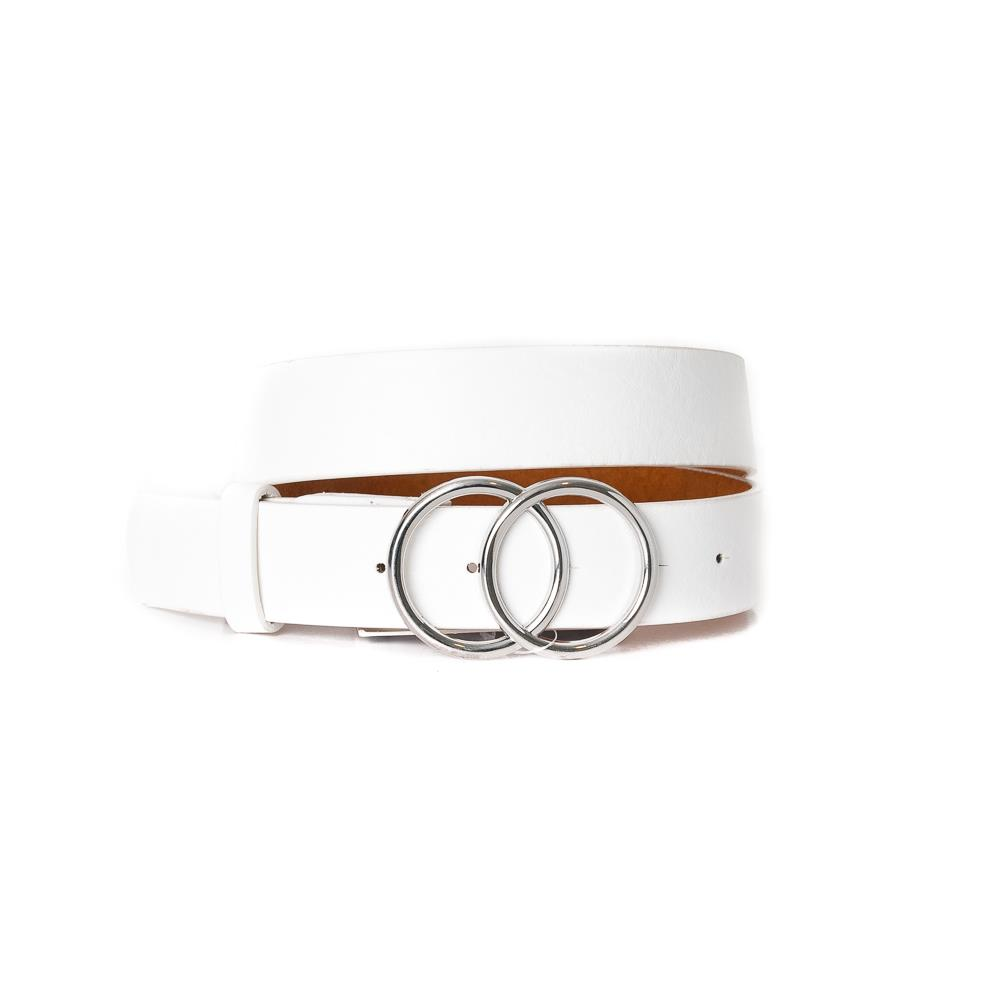 Belt, Doubble Ring Buckle White Silver Buckle