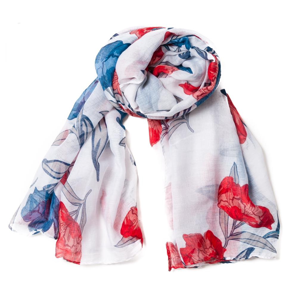 Scarf, flowerprint red